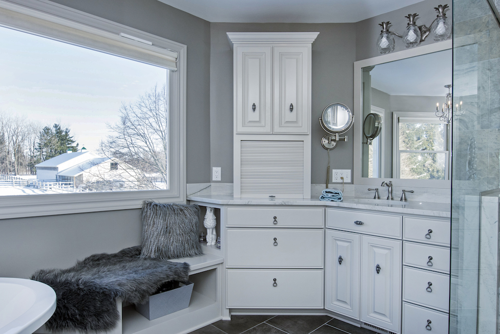 master bath makeover with pedestal tub