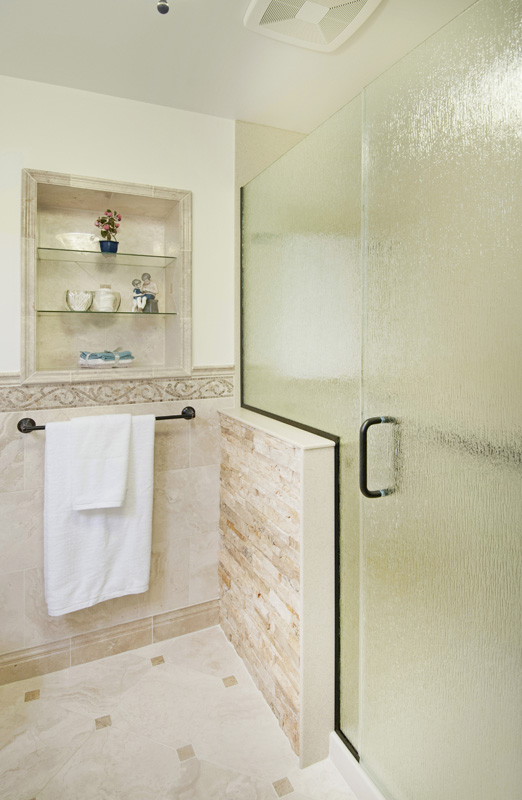 Bath Remodel Solid Surface Shower With Stone Accent Wall